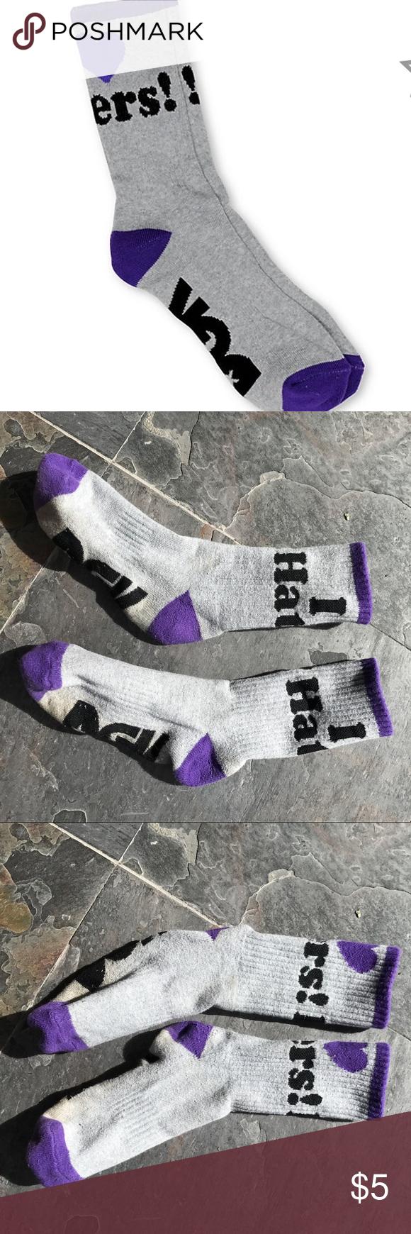 I heart haters socks grey and purple socks purple gray and