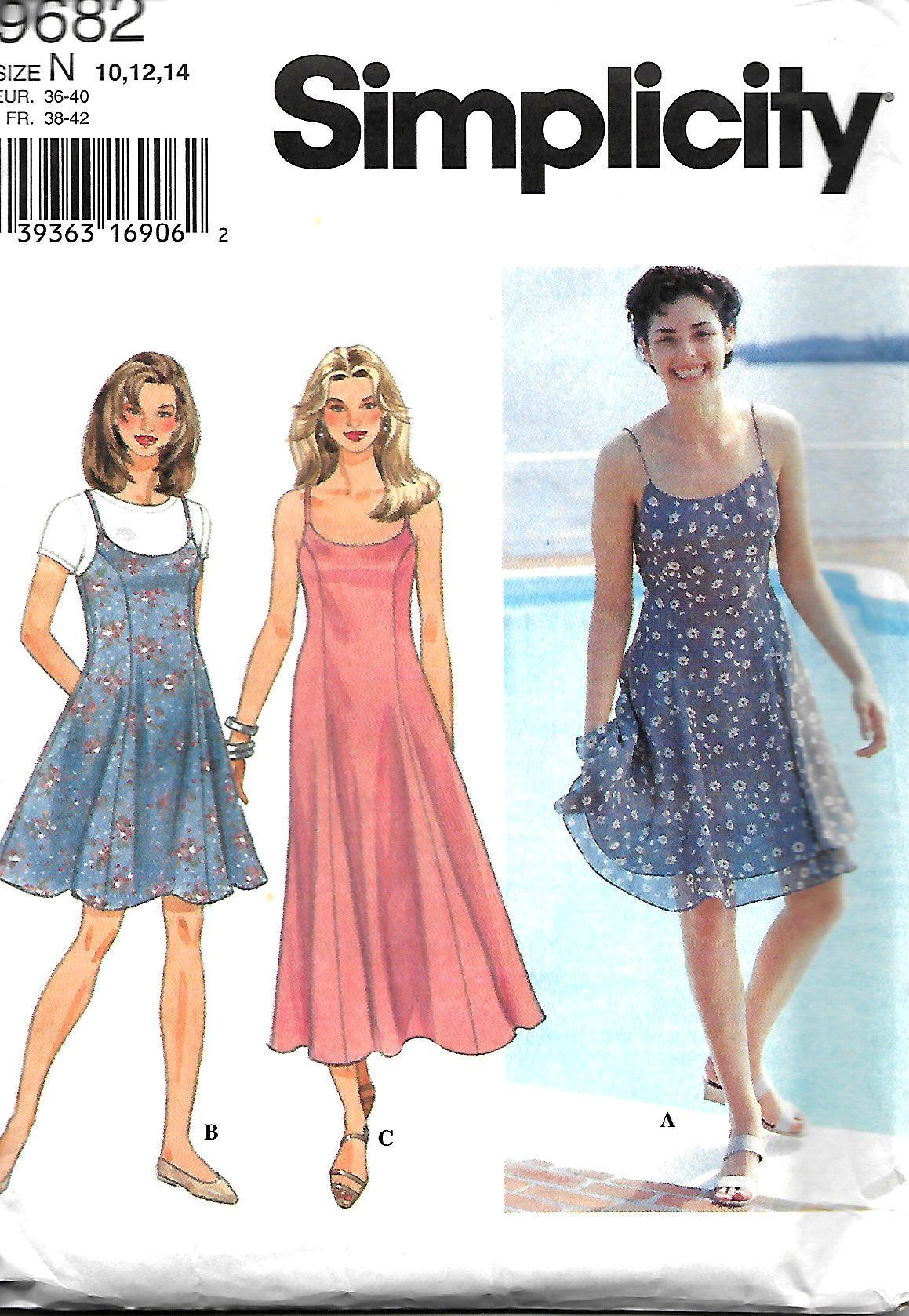 Simplicity 9682 Misses/ Miss Petite Fit And Flare Slip Dress Or ...