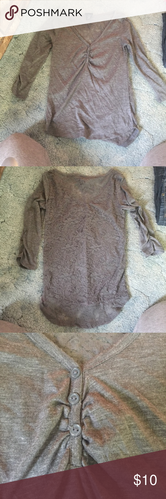 Lace back 3/4 sleeve Grey lace back 3/4 sleeve tee Rue 21 Tops Tees - Long Sleeve