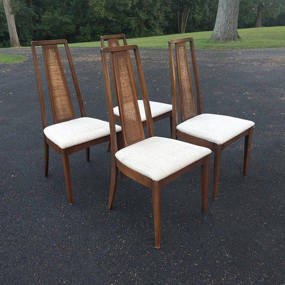 4 Mid Century Modern Walnut Tall Back Cane Dining Chairs Modern