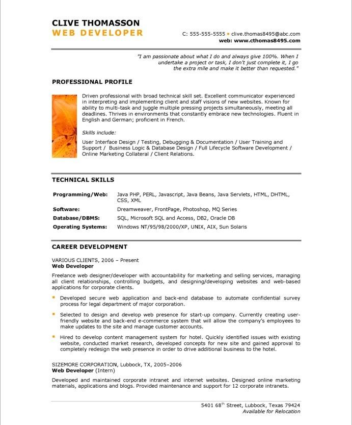 Web Developer Resume Sample Web Developerpage1  New Media Resume Samples  Pinterest