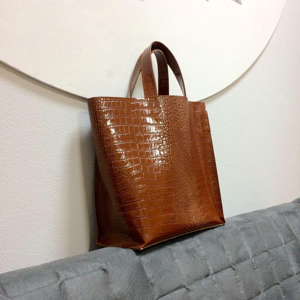 сумка LeoFisher_CrocoBag стандартная РЫЖАЯ под рептилию