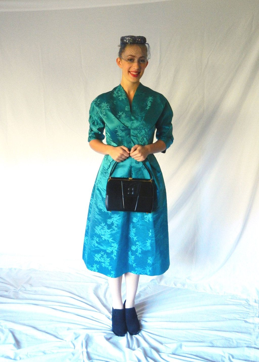 Vintage Teal Satin Dress 50s Party Dress Formal SIZE M or L Asian ...