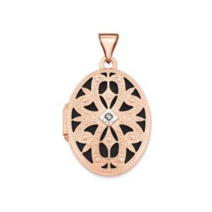21mm Diamond Open Filigree Oval Locket 14 Karat Rose Gold rose