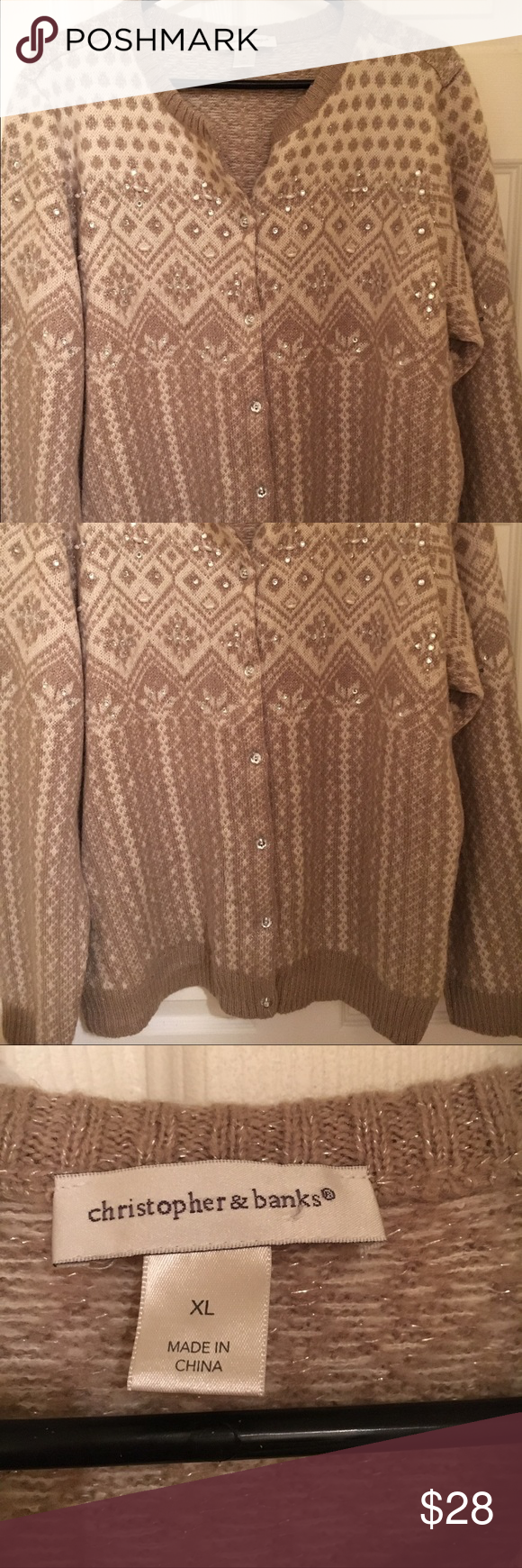 "Christopher Banks Soft Sweater A button-down, elegant looking sweater from Christopher Banks. Size XL. Picture hopefully shows the softness and elegant ""jewels"" embedded in a decorative pattern. There are no snags. Hardly worn; excellent, pristine condition. Smoke-free home Christopher & Banks Sweaters Cardigans"