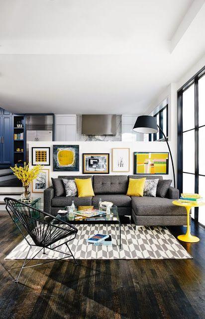 Gri Sarı Ev Dekorasyonu | Oturma odası | Pinterest | Wohnzimmer ...