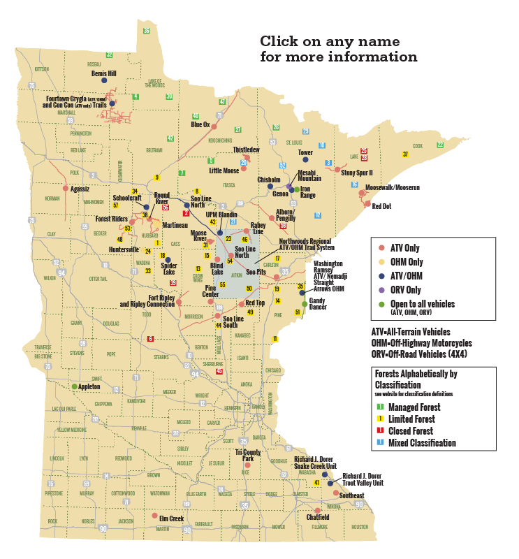 Graphic Minnesota State Map With Ohv Locations Ohv Trails Map Location Map