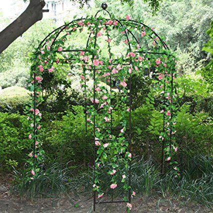 Large Garden Arch Iron Arbor Trellis Archway Stake Landscape Decor