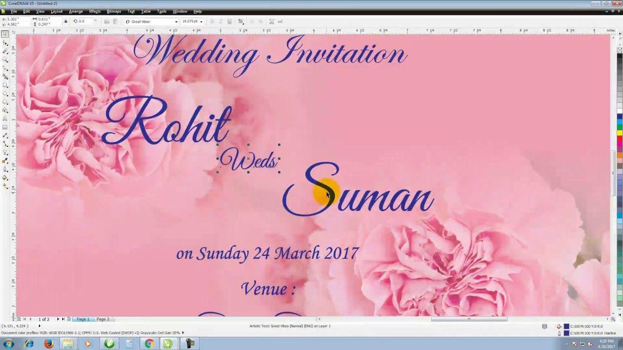 Coreldraw X5 How To Make Wedding Invitation Wedding Invitation Cards Wedding Invitations Invitation Cards