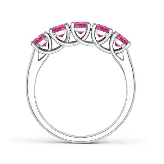 Angara Five Stone Ruby Half Eternity Wedding Ring in Platinum S0yVtTw