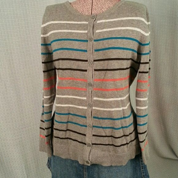 Christopher & Banks Grey Striped Sweater Nice button down grey sweater.   Great condition.   Size PL. Christopher & Banks Sweaters Cardigans