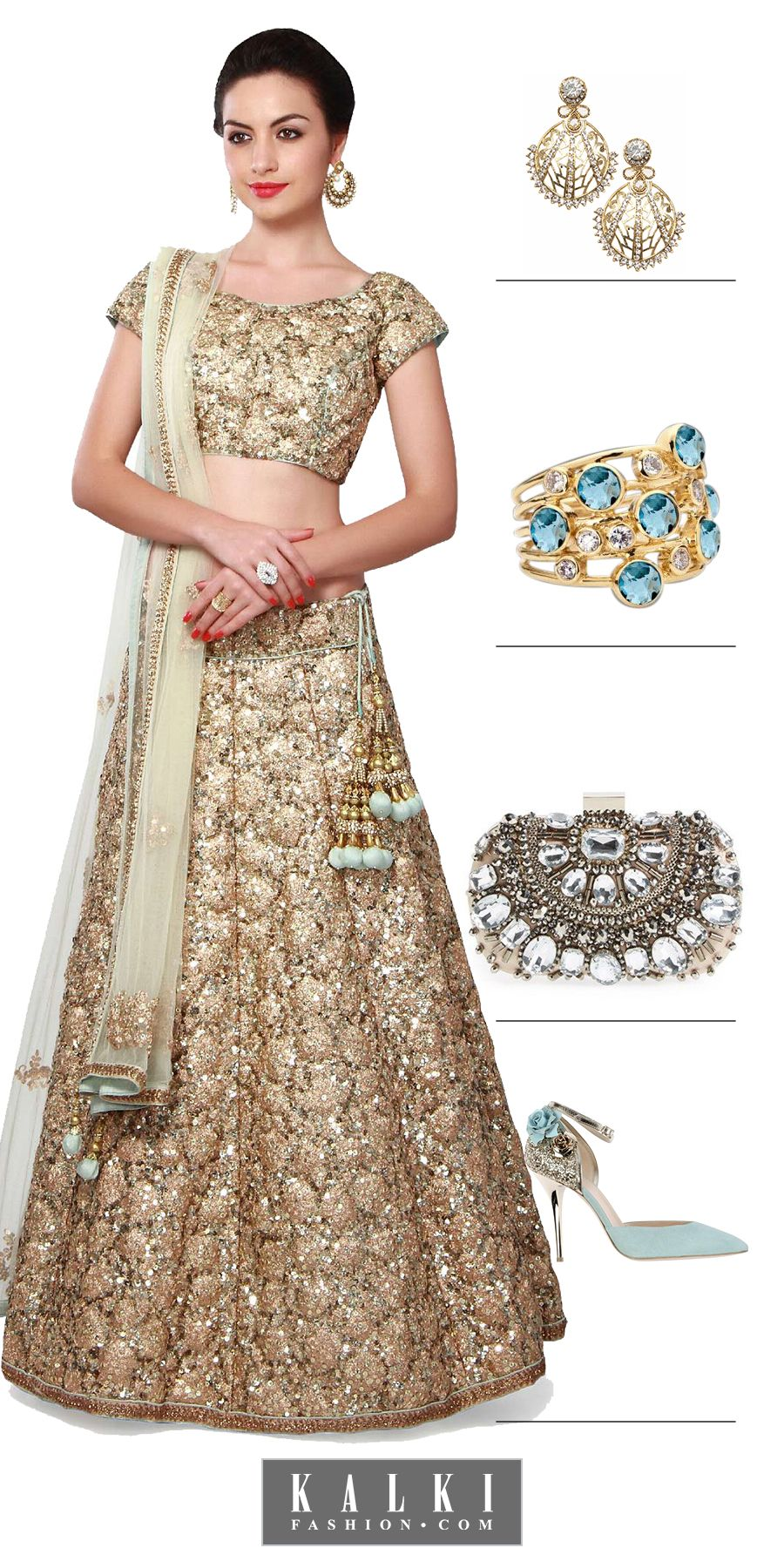 15e26c5dfa Shine in style on your engagement day dressed in this shimmer lehenga and  be the bride to impress!