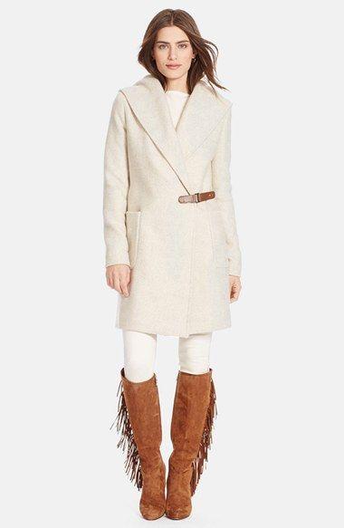 Lauren Ralph Lauren Hooded Tweed Wrap Front Coat (Regular & Petite) available at #Nordstrom