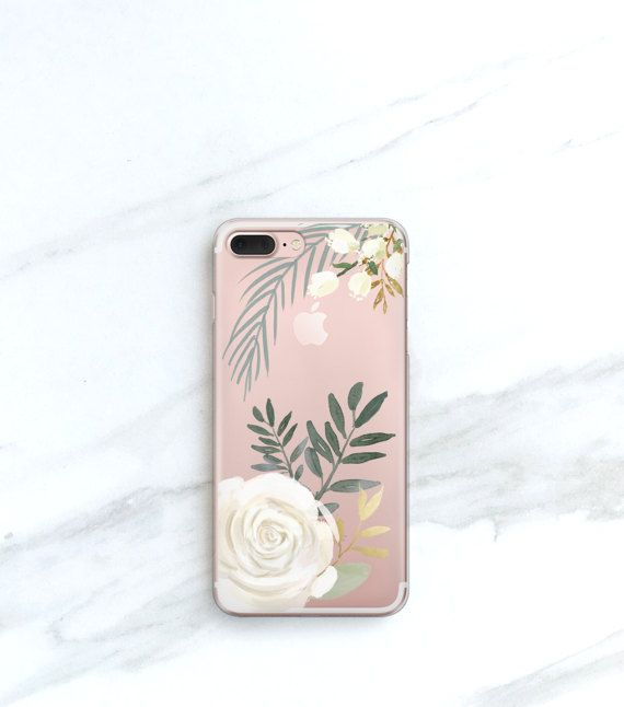 White Rose Clear Case For Iphone 8 Plus Case Clear Floral