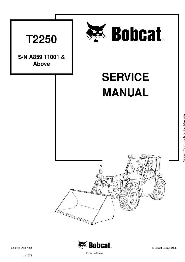 Bobcat T2250 Compact Track Loader Service manual 7-08 PDF