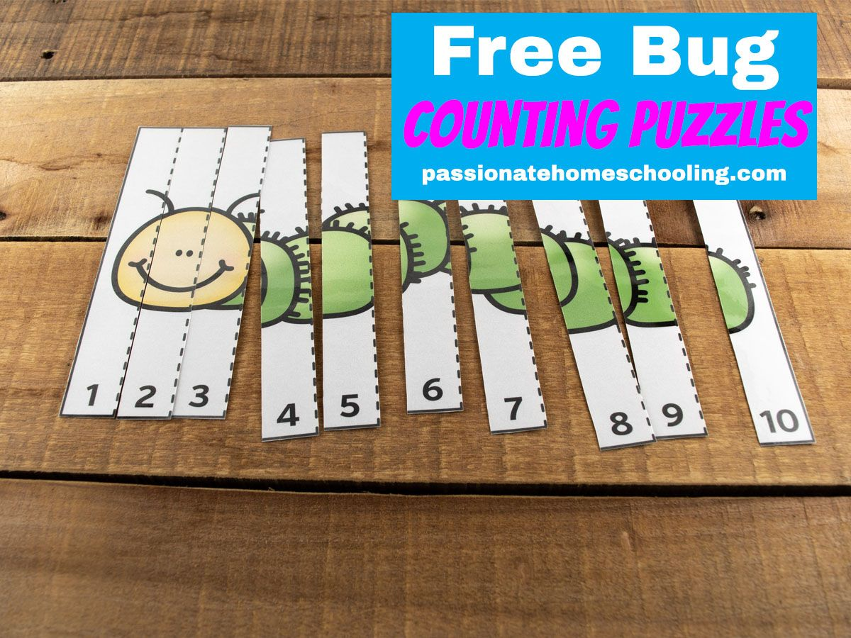 Free Printable Bug Counting To 10 Puzzles