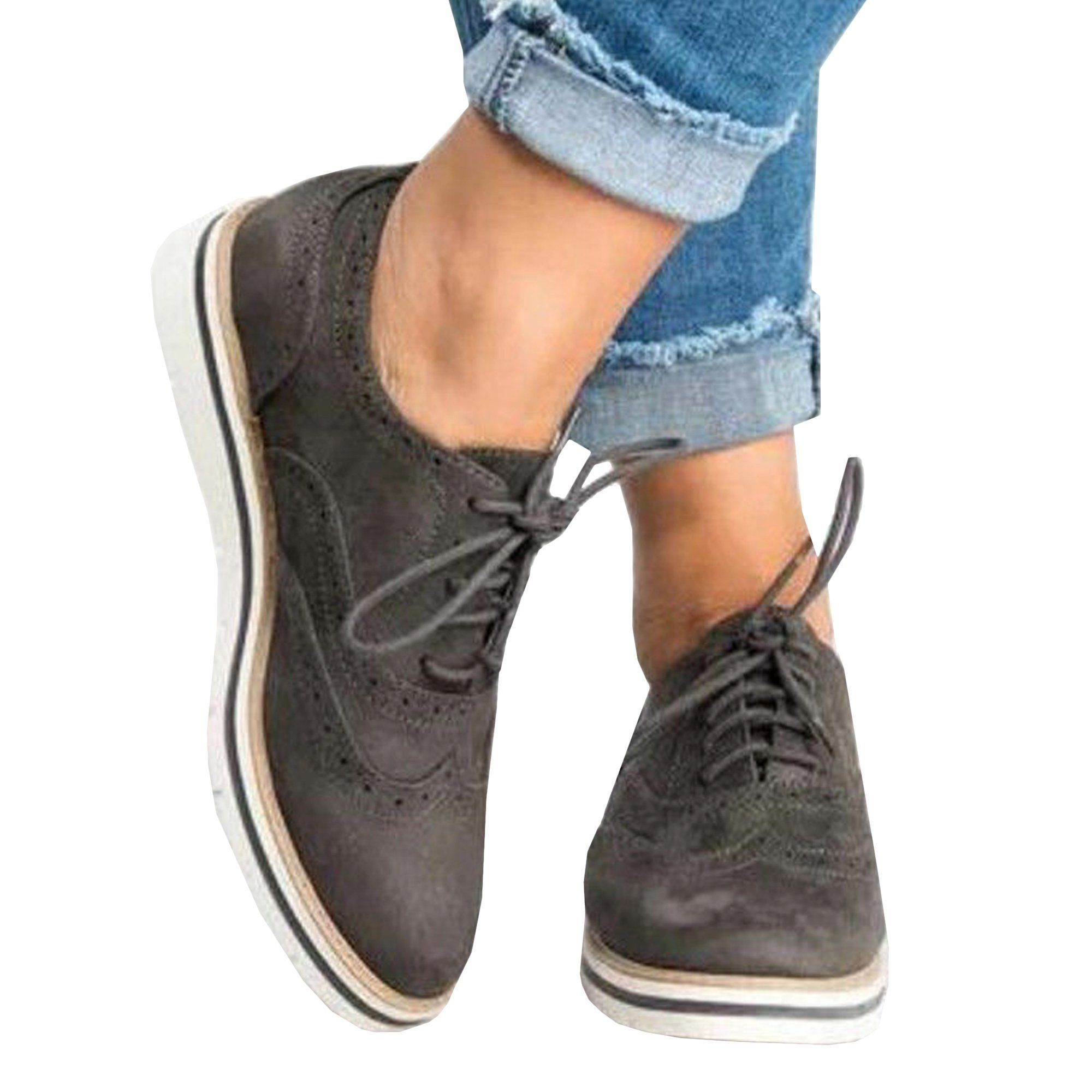 Women's Oxfords Lace Up Flat Smart Work Sports Brogue Trainers Casual Shoes