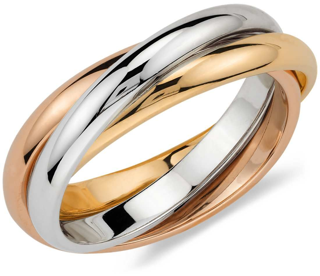 Trio Rolling Ring in 18k TriColor Gold Jewelry Wedding Style