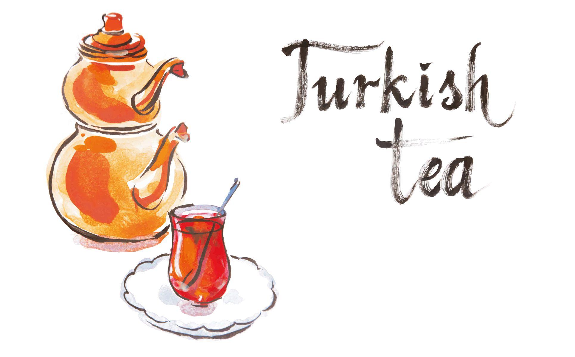 Watercolor Tea Collection Vector Set Illustration 66939