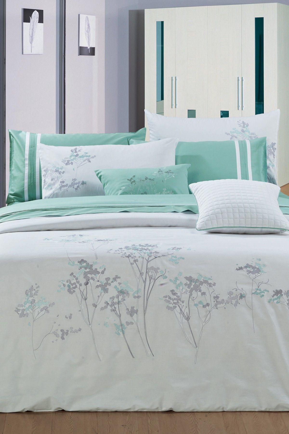 Melange Home Aspen Cotton White Turquoise Bedding Set