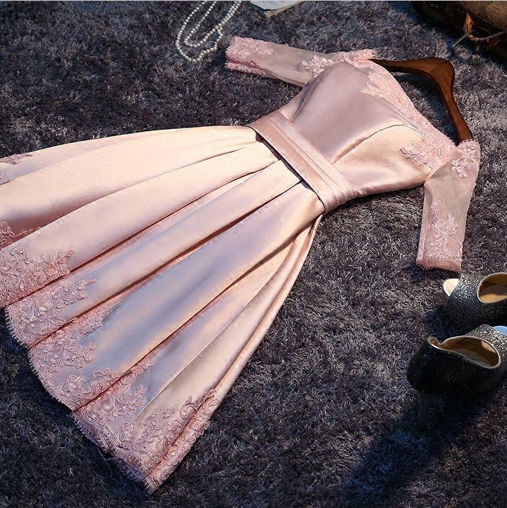 Pas cher 2016 femmes de mariée formelle court bateau lumière robe rose  satin filles princesse bal dreeses robes de soirée pour les jeunes filles  W3515,
