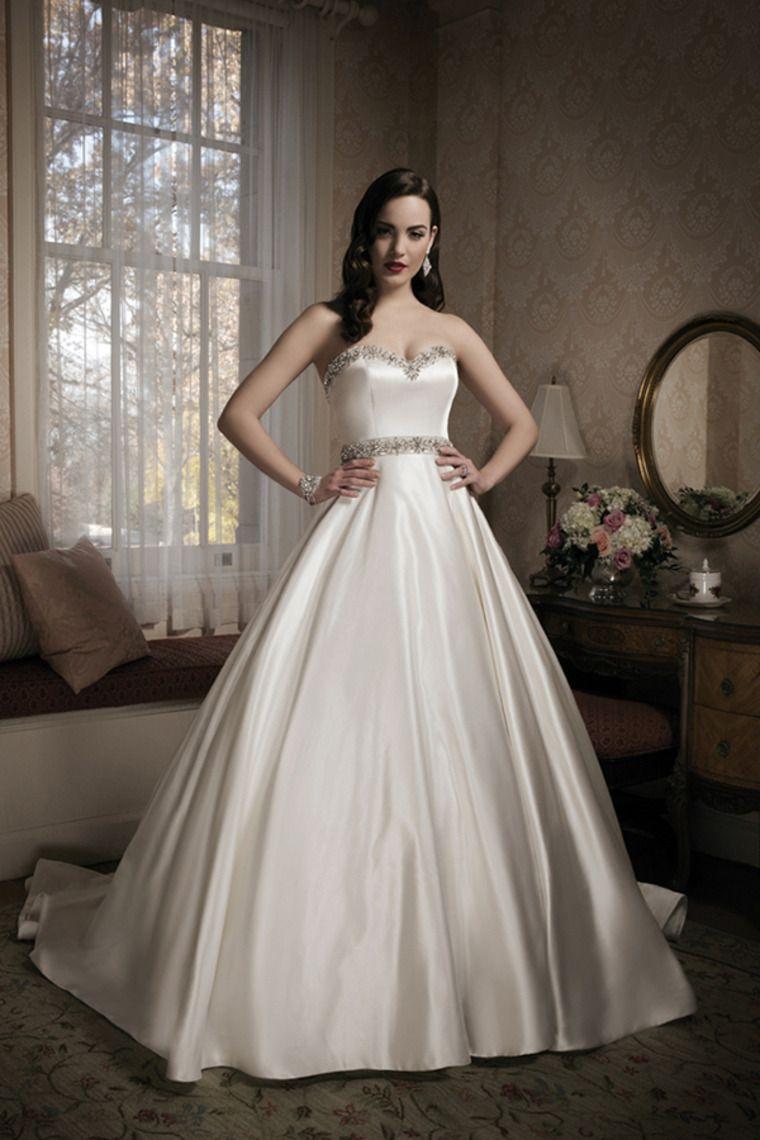 sweetheart beaded neckline and waistline princess wedding dress