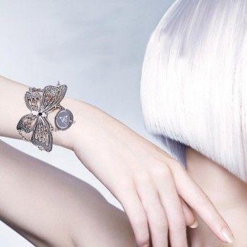 [$9.99] Women Silver Alloy Butterfly Chain Bracelet Quartz Wrist Watch