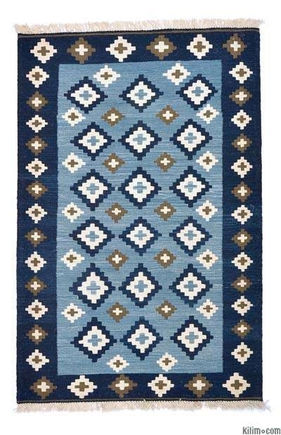 Vegetable Dyed New Turkish Kilim Blue Indigo Rugs In