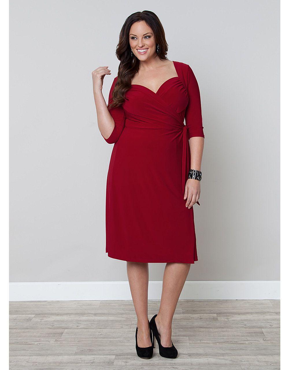 Flattering wedding dresses for plus size  Sweetheart Knit Wrap Dress  Lane Bryant  So Pretty Plus Size