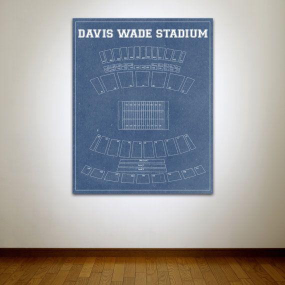 Vintage Print Of Davis Wade Stadium Seating Chart Bulldogs Mississippi College Football Photo Matte Wall Canvas Sports Art Diag Vintage Prints Sports Art Print