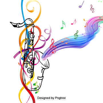Saxophone With Musical Notes Background Color Vector