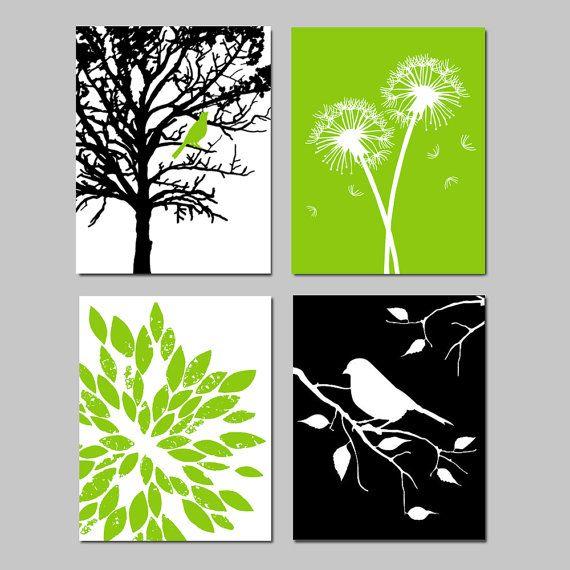 Moderna de la naturaleza arte Quad Set de 4 11 x 14 por Tessyla ...