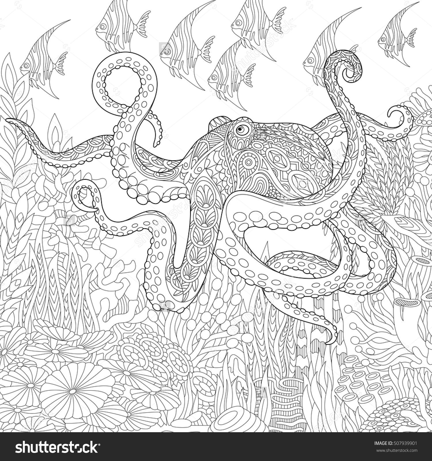 Stylized composition of giant octopus, tropical fish, underwater ...