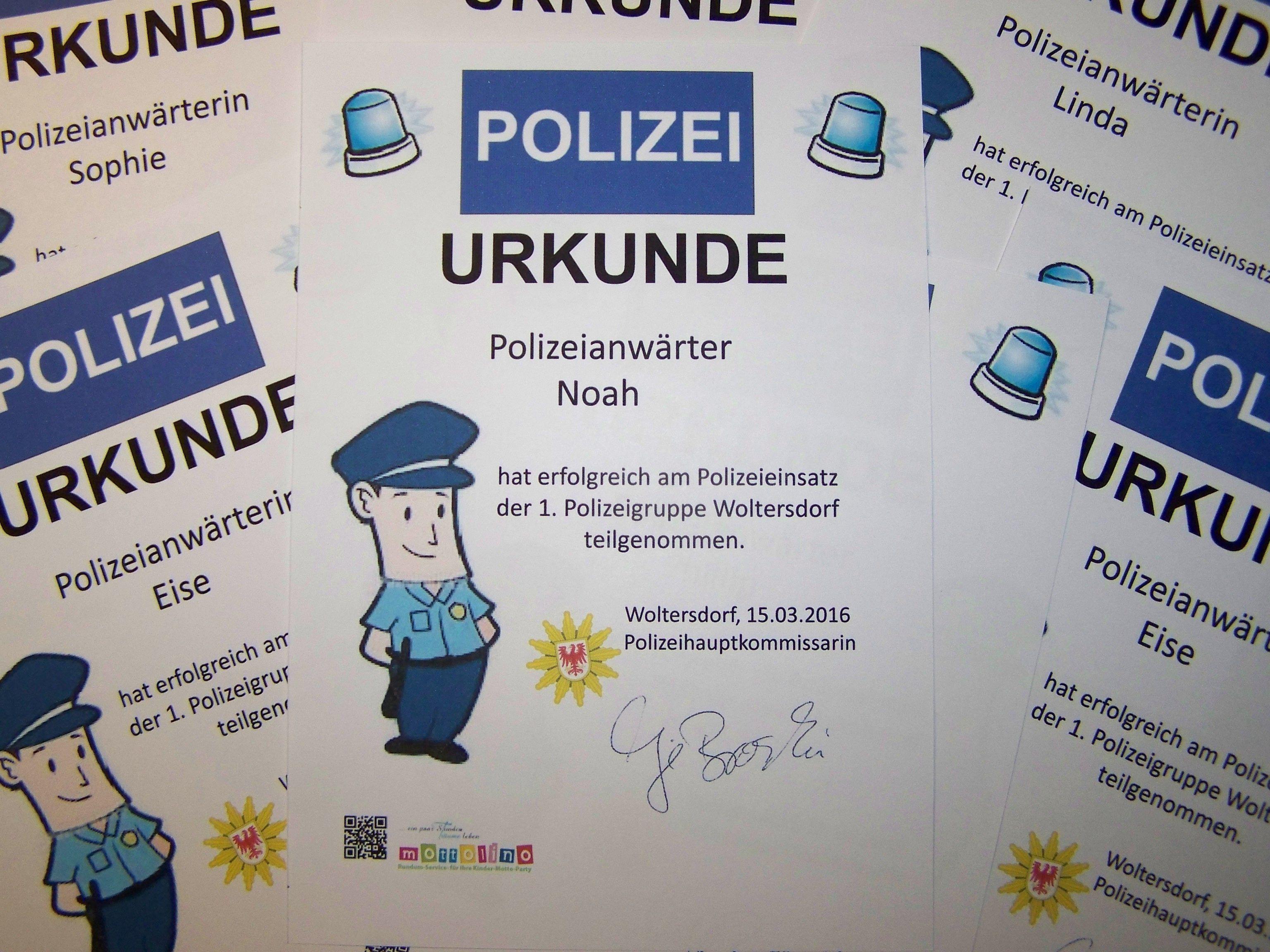 Polizei Urkunde Www.mottolino.de