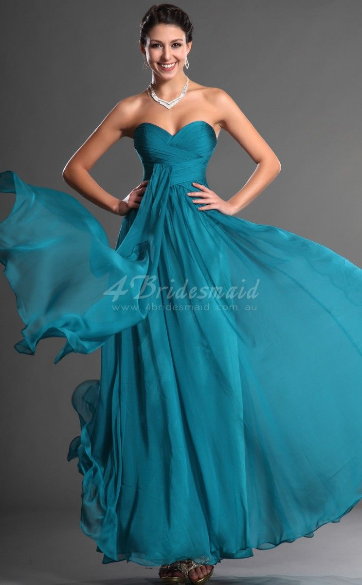 Aline bateau neck long ocean blue chiffon bridesmaid dressesbd