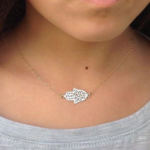 Hamsa Charm NecklaceGold Hamsa Pendant Necklace.Choker by Avnis