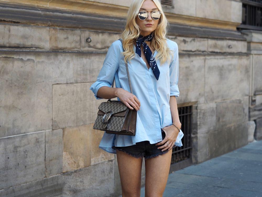 Blue shirt and bandana