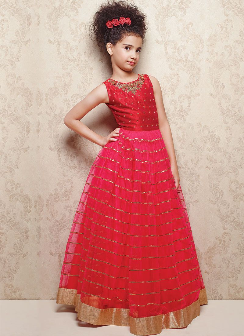Doll Pinkish Red Embellished Kids Gowns Lil Ones Pinterest