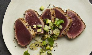 Yotam Ottolenghi: seared tuna with cucumber and avocado salsa