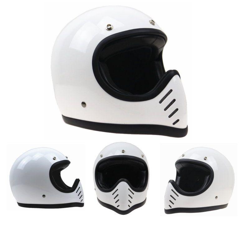 Japan Street Vintage Full Face Motorcycle Helmet 3 Snap White Helmet Retro Helmet Full Face Motorcycle Helmets
