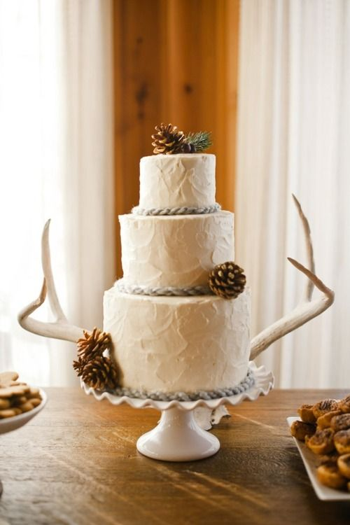 Love This Idea For A Western Wedding Cake But Use Orange Roses Instead Of Pinecones Simpl Wedding Cake Rustic Western Wedding Cakes California Winter Wedding