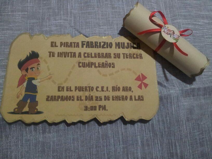 Invitaciones De Jake Y Los Piratas Del Pais Nunca Jamas MLV F ...
