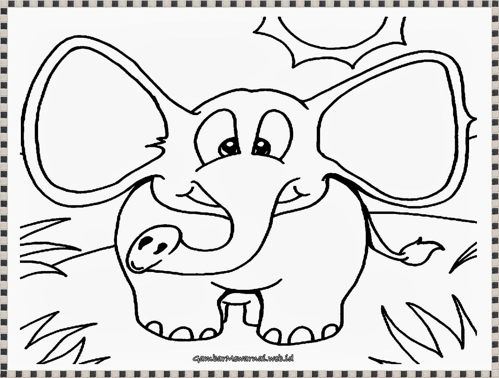 Gambar Mewarnai Anak Gajah Yang Lucu Education Pinterest