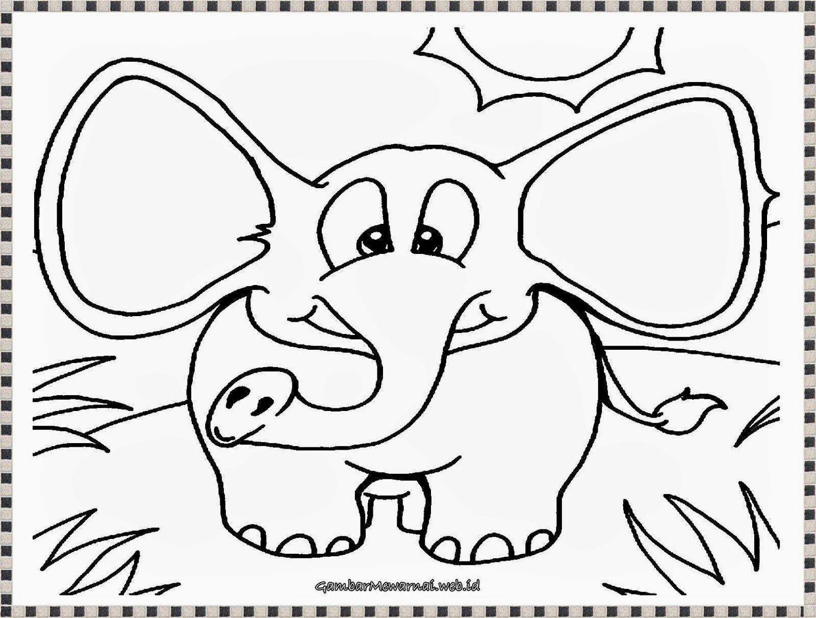 Gambar Mewarnai Anak Gajah Yang Lucu Gambar Mewarnai Pinterest