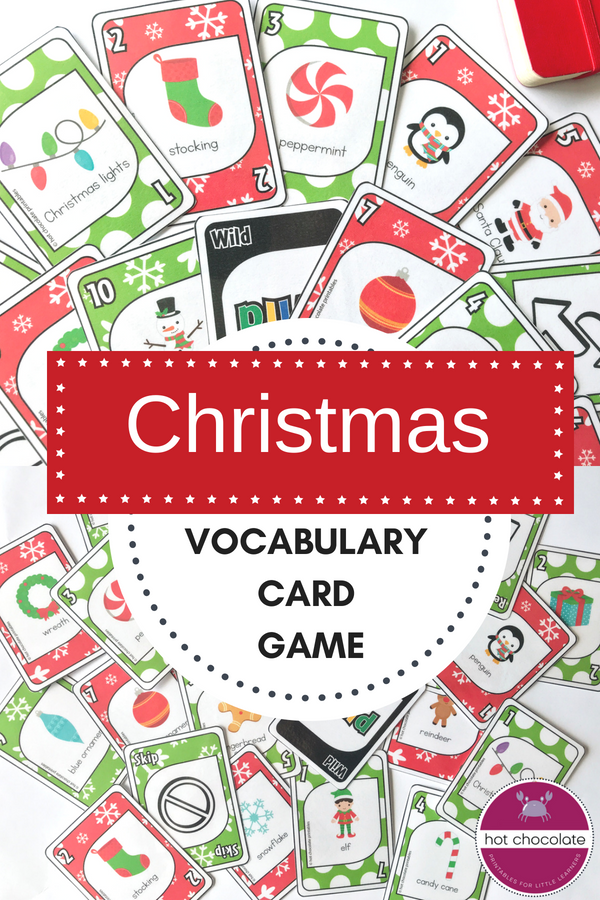 Christmas Vocabulary Card Game English Version Card