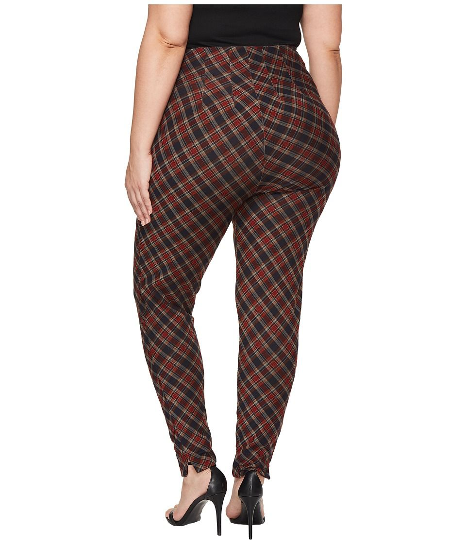 2d9d18c8994 Unique Vintage Plus Size Elaine Cigarette Pants Women s Casual Pants  Burgundy Plaid