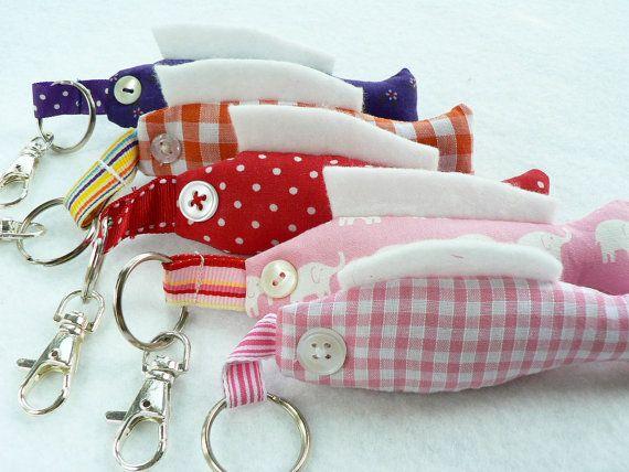 This is so cute! key chain or bag charm fabric fish for keys by WhenArtMetCloth, £8.50
