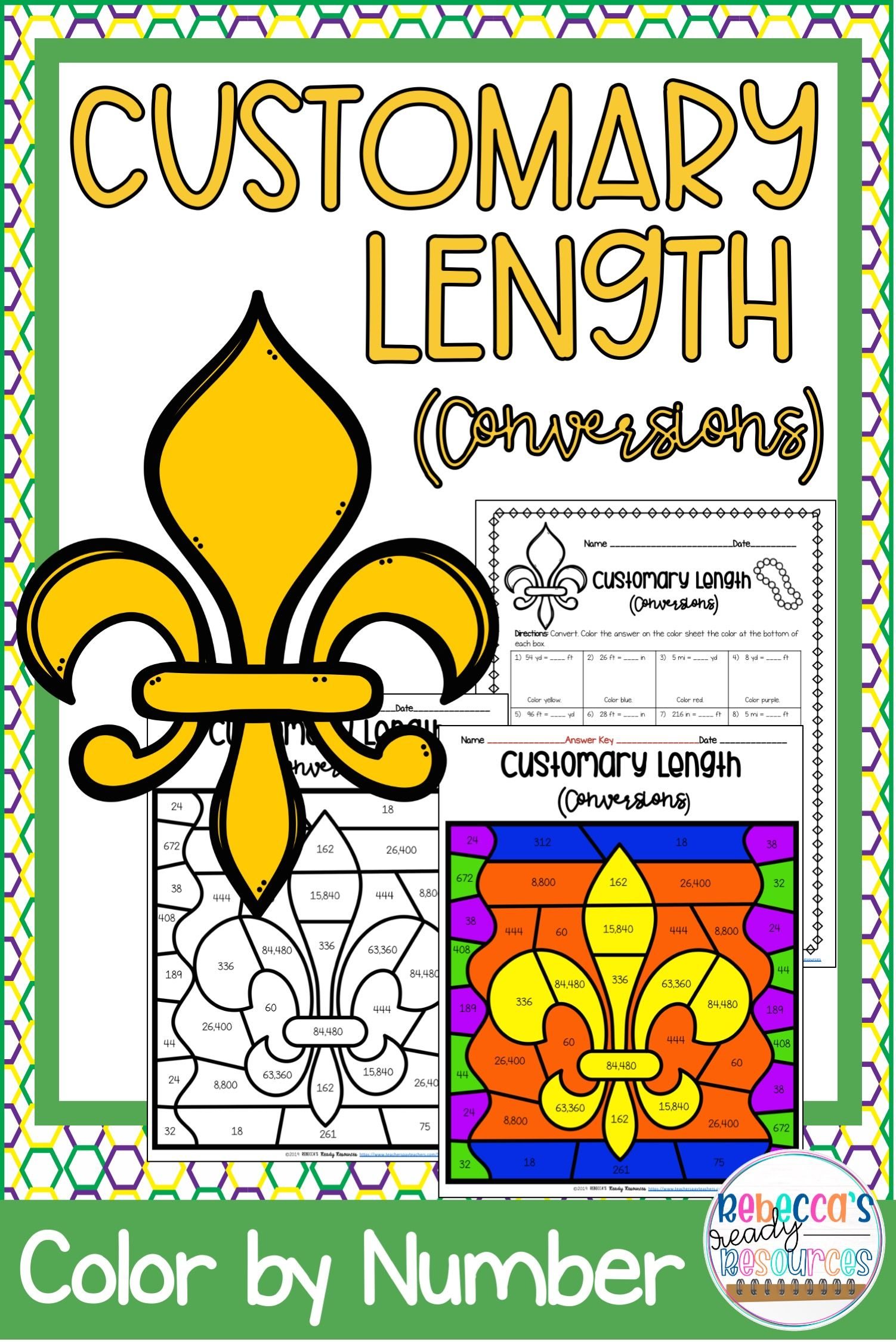 Mardi Gras Customary Length Conversions Color By Number