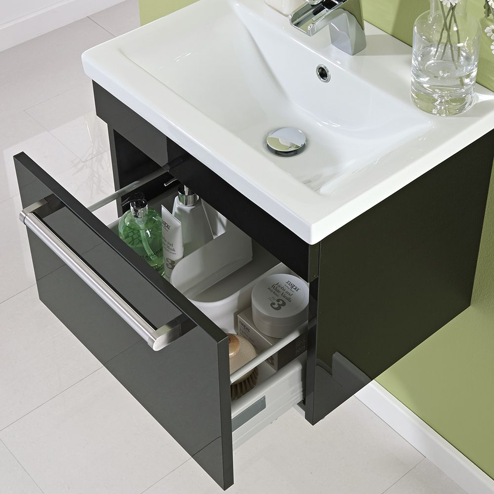 500mm wall hung single drawer vanity unit gloss black image 3 - Bathroom Cabinets Black Gloss