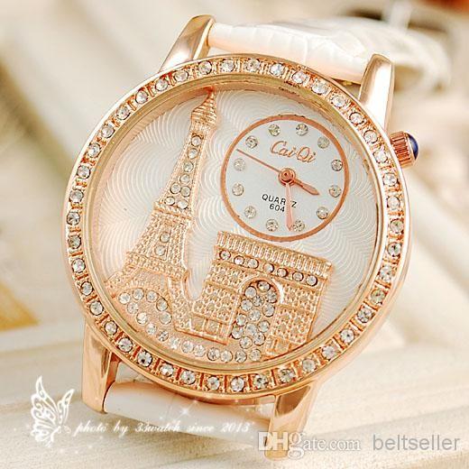 Wholesale Wristwatches - Buy Luxury Crystal Diamond Eiffel Tower Lady Girl Quartz Wrist Dress Watch With Leather Strap Valentine's Day Gift, $16.22 | DHgate